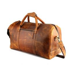 "20"" Tan Leather Duffle Bag Travel Weekend Luggage Overnight"
