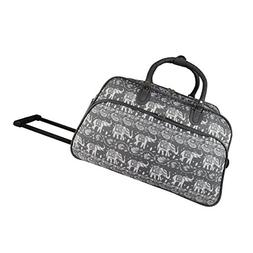 World Traveler 21-inch Carry-on Rolling Duffel Bag-Grey Whit