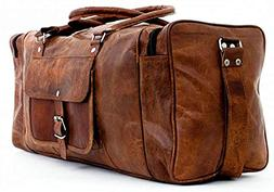 24 inch Vintage Leather Duffel Travel Gym Sports Overnight W