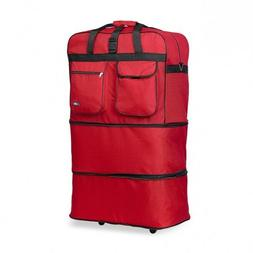 Red 30 Inches Expandable Rolling Duffle Bag Wheeled Spinner