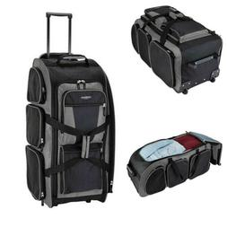 "30"" Rolling Duffle Bag Lightweight Gray Charcoal Spinner Lug"