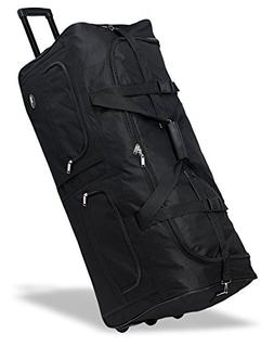"""40"""" Black Heavy Duty Polyester Large Rolling Duffel Bags/tra"""