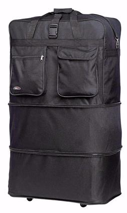 Black 40 Inches Expandable Rolling Duffle Bag Wheeled Spinne
