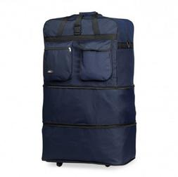 Navy 40 Inches Expandable Rolling Duffle Bag Wheeled Spinner