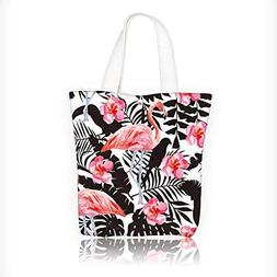 Canvas Shoulder Hand Bag tropic animals birds parrot in the