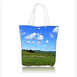 Canvas Tote Bag Grassland Zipper Closure Grocery Shopping Ba