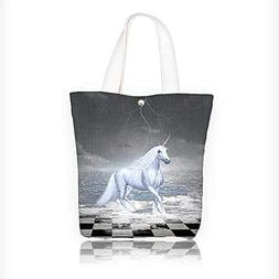 Canvas Tote Bag Home and Surreal Sea on Chessboard with Pega
