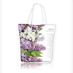 Canvas Tote Bag Lilac flowers background isolated on white w