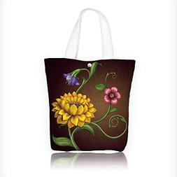 Canvas Tote Bag Sunflower pattern detail Flowers background