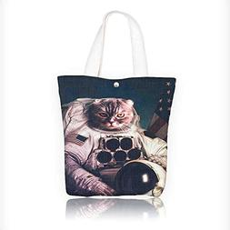 Canvas Tote Bag Vintage Image Astronaut Kitty with American