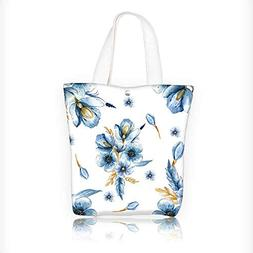Canvas Tote Bag with unreal indigo flowers drawn flowers per