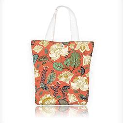 Canvas Zipper Tote Bag Printed background flowers wallpaper