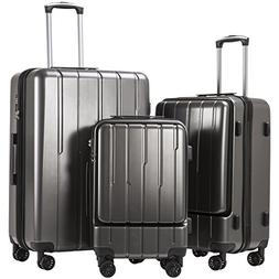 Coolife Luggage Expandable Suitcase 3 Piece Set ABS+PC TSA L