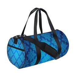 OuLian Duffel Bag Blue Vintage Pattern Women Garment Gym Tot