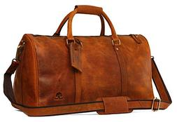 Leather Duffel Bags For Men - Airplane Underseat Carry On Lu