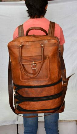 Mens Leather Backpack Laptop Bag Large Duffle Travel Camping