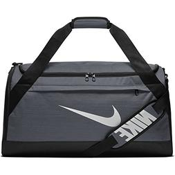 NIKE Brasilia Duffel Bag, Flint Grey/Black/White, Medium