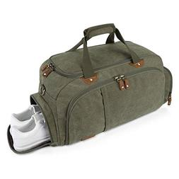 Plambag Sports Gym Duffel Bag with Shoes Compartment, Canvas