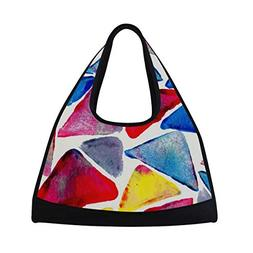 Sport Gym Bag Watercolor Colorful Triangle Canvas Travel Duf