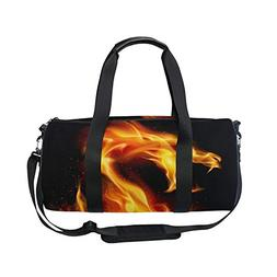 Sports Bag Abstract Fiery Dragon Mens Duffle Luggage Travel