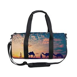 Sports Bag Desert Camels Silhouettes Mens Duffle Luggage Tra