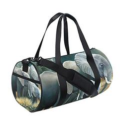 Sports Bag Elephant Family Painting Mens Duffle Luggage Trav