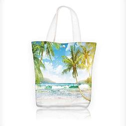 Women's Canvas Tote Bag, Tropical island with palm trees and