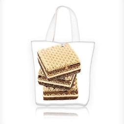 Women's Canvas Tote Bag, wafers with chocolate on a white ba