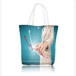 Women's Canvas Tote Bag, woman touch red and white graph wit