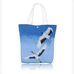 Women's Canvas Tote Handbags Red Crowned Crane with Open W