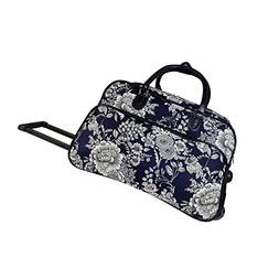 World Traveler 21-inch Carry-on Rolling Duffel Bag-Navy Whit