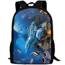 Backpack Beatiful Dolphin Fish Mens Laptop Backpacks Shoulde