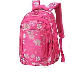 Girls Sports Backpack Flowers Pattern Students Book Bag
