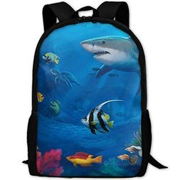 Backpack Underwater-World Shark Colorful Fish Mens Laptop Ba