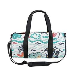 Sports Bag Hand Drawn Underwater World Mens Duffle Luggage T