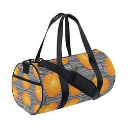 Sports Bag Orange Cute Mens Duffle Luggage Travel Bags Kid L