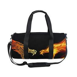 Sports Bag Two Dragon Heads In Fire Mens Duffle Luggage Trav