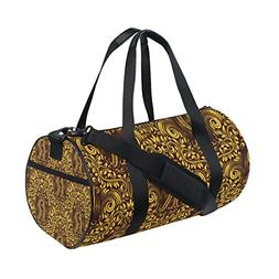 "Baroque Flower Pattern Alphabet Letter ""R"" Sports Duffel Bag"