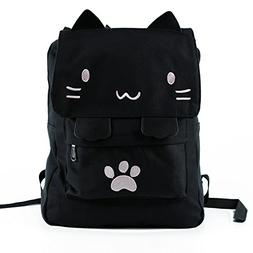 Black College Cute Cat Embroidery Canvas School Laptop Backp
