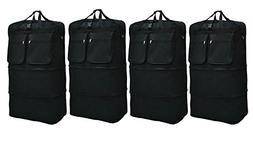"New 4 pack of 40"" black expandable rolling wheeled duffle ba"