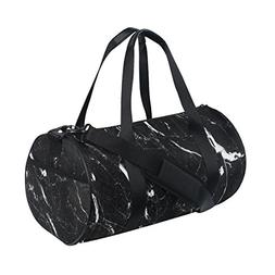 Naanle Black And White Marble Pattern Gym bag Sports Travel