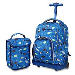 Kids Blue Sealife Animals Theme Rolling Backpack Lunch Bag,