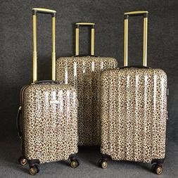 Brown Luxury Leopard Theme Rolling Upright Spinner Wheeling