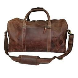 Buffalo Leather Retro Luggage Travel Duffel Weekender Large