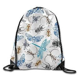 Bugs And Flying Insects Unisex Home Gym Sack Bag Travel Draw