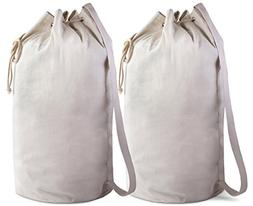 Canvas Duffel Bag - 2 PACK - Drawstring with Leather Closure