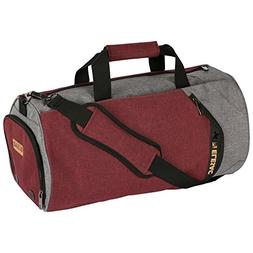 EleSac Canvas Style Round Gym Bag with Shoe Compartment for