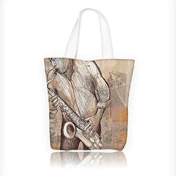Canvas Shoulder Hand Bag Jazz Musician Playing the Saxophe S