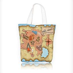 Canvas Tote Bag Carto Treasure Map Of Tropical ach With Ches