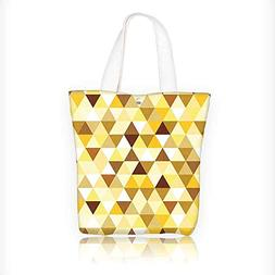 canvas tote bag Collection Gold Triangle Pattern Happy Brigh